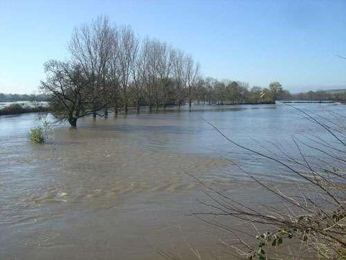 Saint-Gengoux. Inondation par la Grosne entre Saint-Gengoux-le-National et Bissy-sous-Uxelles (département de Saône-et-Loire) le 3 novembre 2008. © J.-M. Bardintzeff
