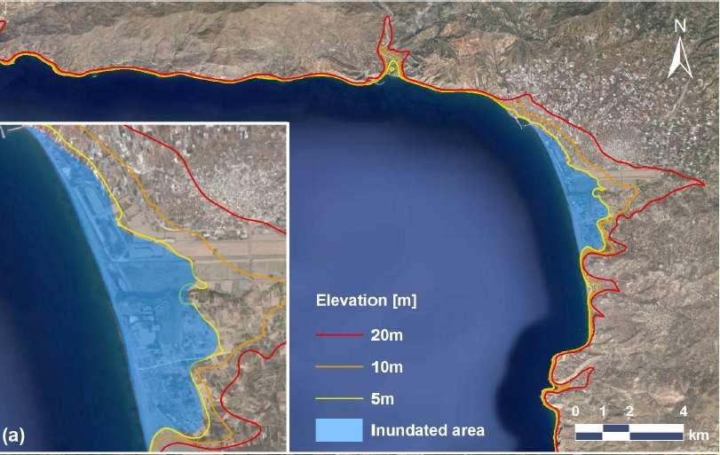 Simulation des risques d'inondation sur le littoral est de la Crète à la suite de vagues de 20, 10 et 5 mètres. En bleu, la surface minimale recouverte par les eaux. © Achilleas Samaras et al., Ocean Science