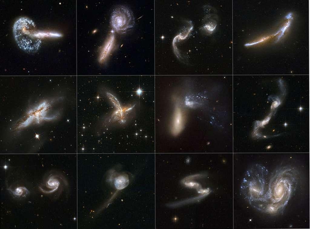 Panoplie de galaxies en interaction, montrant la grande variété des impacts possibles en termes de géométrie, vitesse relative, rapport de masse des ensembles en collision. Photos du télescope spatial Hubble. © Nasa, ESA