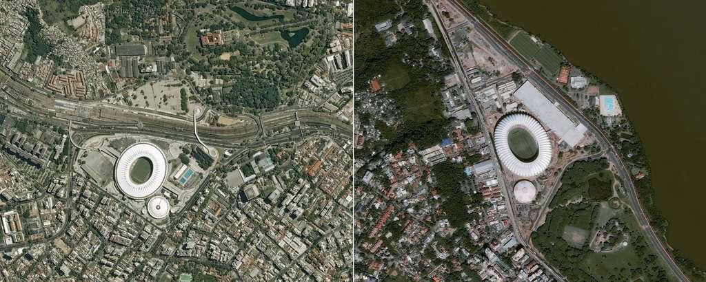 À gauche, le stade de Maracana (Rio de Janeiro) et à droite le Beira-Rio situé dans la ville de Porto Allegré. @ Cnes 2014/Distribution Astrium Services/Spot Image S.A.