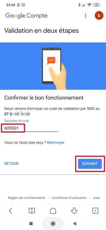 Renseignez le code reçu par SMS. © Google Inc.