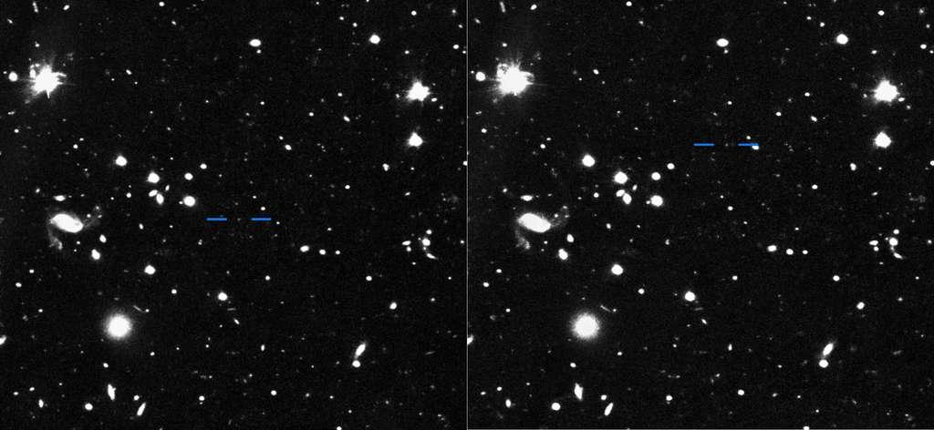 Images de découverte de Farfarout (2018 AG37) prises avec le télescope Subaru les 15 et 16 janvier 2018 (à gauche et à droite respectivement). En comparant les deux photos, on peut voir le déplacement de Farfarout (dont la position est indiquée par les traits bleus) par rapport aux étoiles et galaxies en arrière-pan. © S. Sheppard