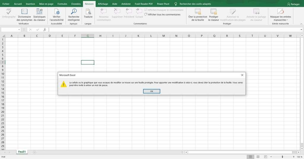 Notification d'erreur affichée par Excel en cas de modification d'une cellule protégée © Microsoft