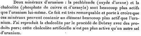 L'anomalie notée par Marie Curie, qui conduisit à la découverte du polonium et du radium (comptes-rendus à l'Académie des Sciences, 12 avril 1898)