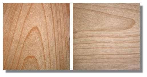 Figure 26. Deux portions de feuilles tangentielles obtenues placées selon des directions perpendiculaires. La direction longitudinale est verticale à gauche et horizontale à droite. © Photo R. Prat
