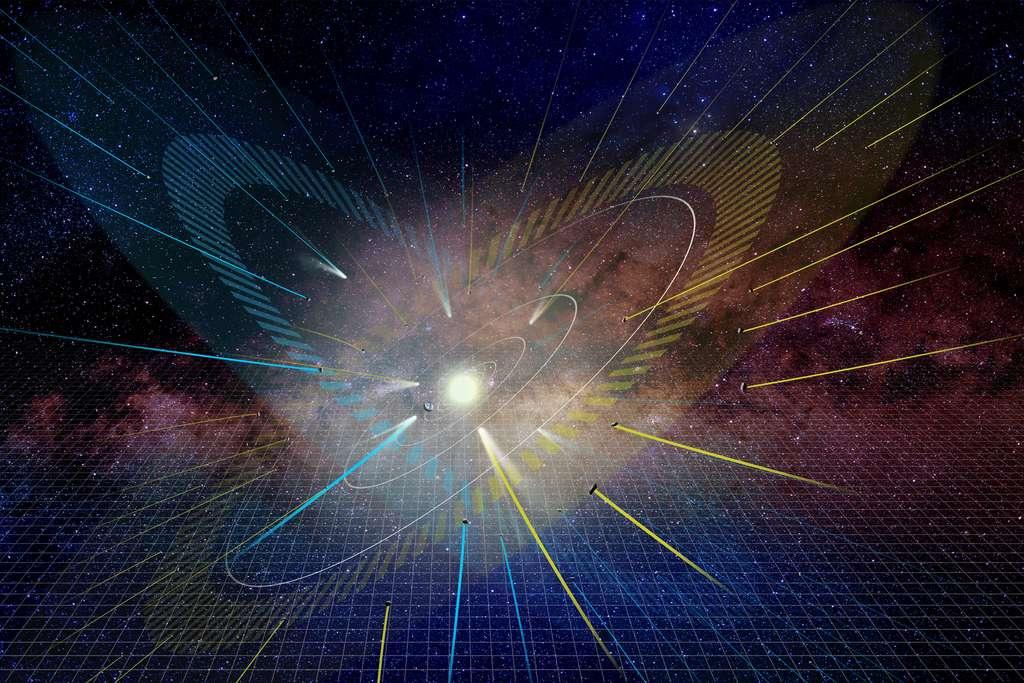 Vue d'artiste de la distribution des comètes à longue période. Les lignes convergentes représentent les trajectoires des comètes. Le plan de l'écliptique est représenté en jaune et l'écliptique vide est en bleu. La grille d'arrière-plan représente le plan du disque galactique. © NAOJ