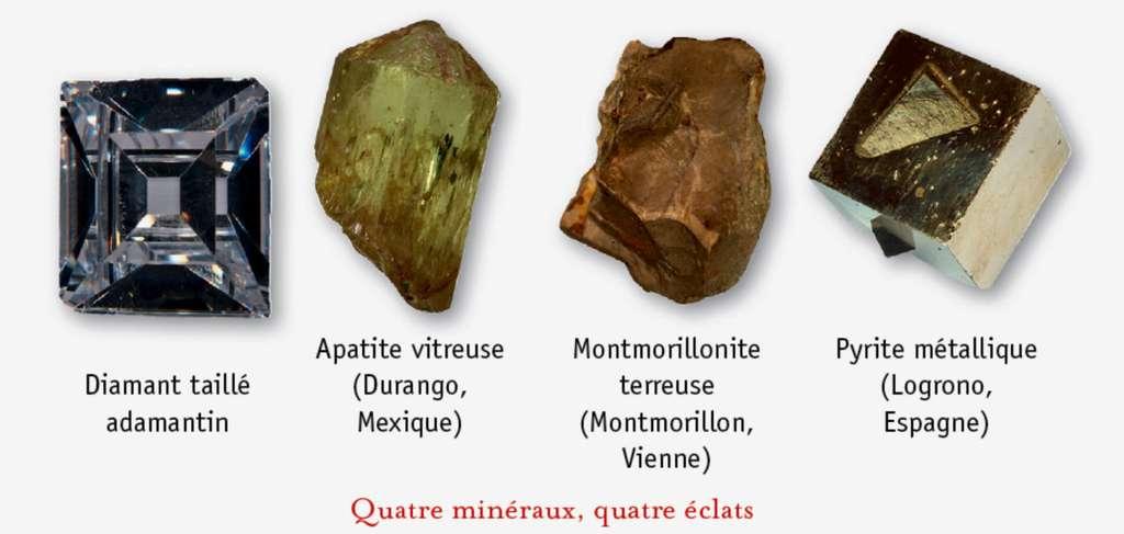 Comparaison entre des minéraux transparents ou translucides (diamant, apatite) et des minéraux opaques (montmorillonite, pyrite). © Dunod, DR