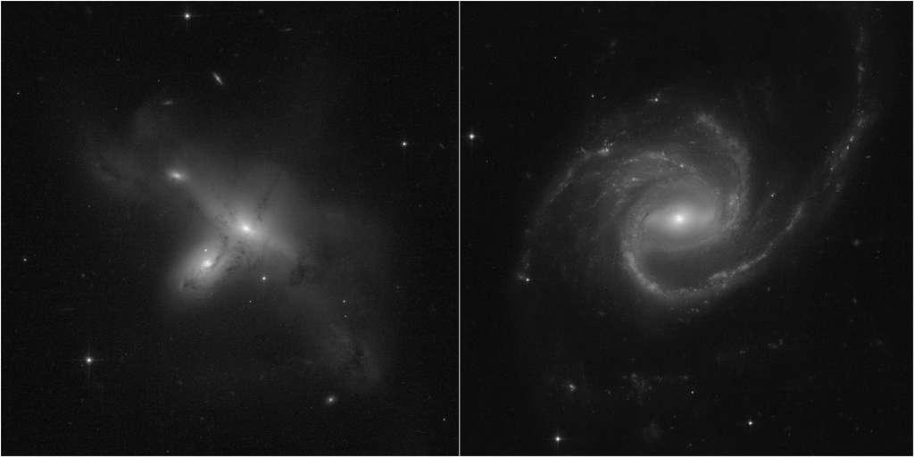 Ces images, issues d'un programme dirigé par Julianne Dalcanton de l'Université de Washington à Seattle, démontrent le retour de Hubble à des opérations scientifiques complètes. À gauche, ARP-MADORE2115-273. À droite, ARP-MADORE0002-503, une grande galaxie spirale avec des bras spiraux étonnants. Alors que la plupart des galaxies à disques ont un nombre pair de bras spiraux, celle-ci en a trois. © Science : Nasa, ESA, STScI, Julianne Dalcanton (UW) Traitement d'images : Alyssa Pagan (STScI)