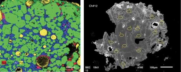 Deux images montrant la structure interne de chondres typiques étudiés par Tu-Han Luuet al. À gauche, l'image en fausses couleurs d'un chondre montre que cet objet est essentiellement constitué de cristaux d'olivine riches en magnésium (vert), d'une matrice vitreuse riche en aluminium (bleu), de billes de métal (jaune) et que l'altération secondaire responsable de la présence de sodium (rouge) est très limitée. À droite, l'image en électrons secondaires rétrodiffusés montre un autre chondre composé essentiellement de cristaux d'olivine (cristaux en gris foncé au centre de l'objet) avec des billes de métal (blanc) partiellement oxydées et, par endroits, une mésostase partiellement vitreuse. © CNRS, Luu et al.