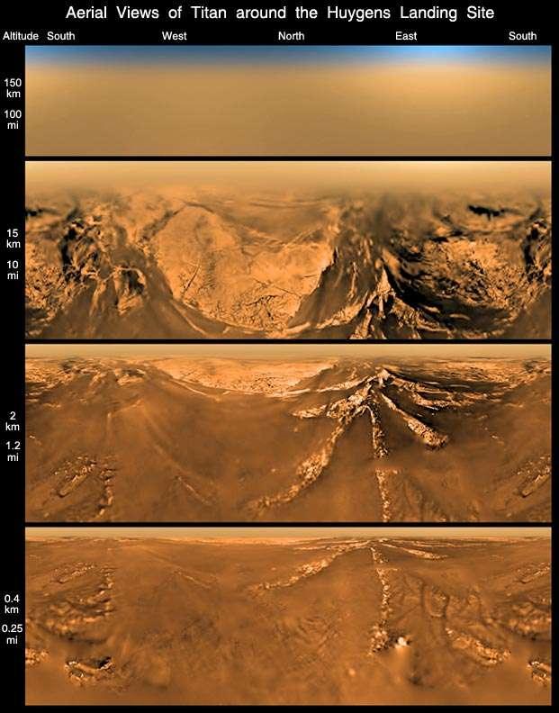 Une série de vues aériennes de Titan lors de la descente de Huygens dans l'atmosphère de la lune de Saturne, de 150 km à 0,4 km du sol, le 14 janvier 2005. © Esa, Nasa, JPL-Caltech, université d'Arizona