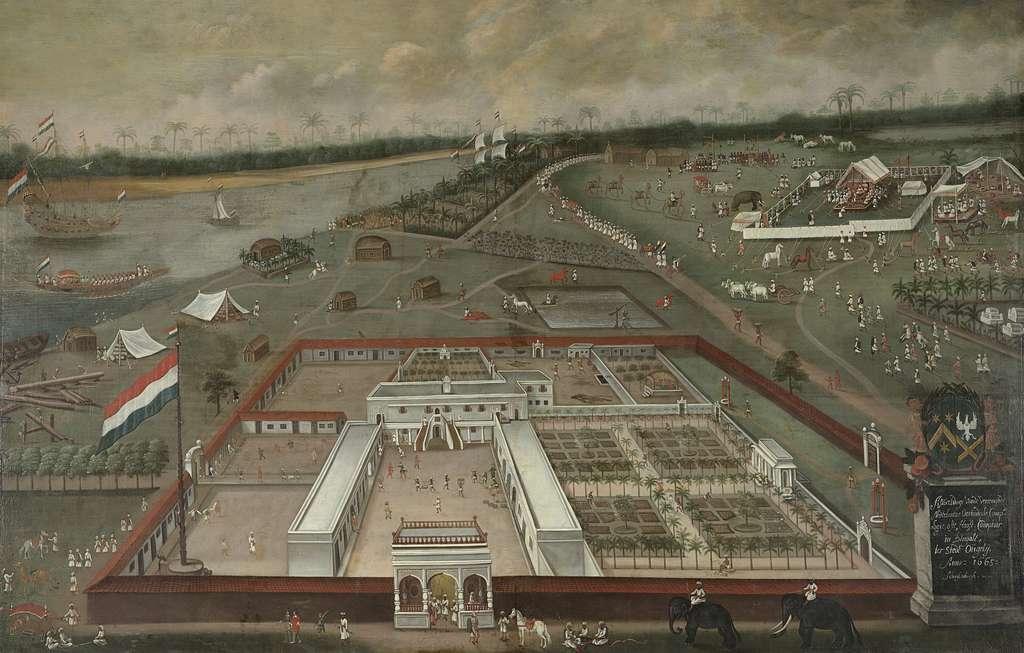 Comptoir de commerce de la VOC à Hougly au Bengale (Inde), par Hendrik van Schuylenburgh, 1665. Rijksmuseum, Amsterdam. © Wikimedia Commons, domaine public