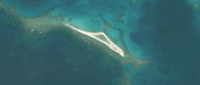 East Island, malgré sa taille modeste, était la deuxième plus grande île du banc de sable de la Frégate française, situé dans les îles hawaïennes du Nord-Ouest. (Image satellite prise en mai 2018.) © US Fish and Wildlife Service, DP