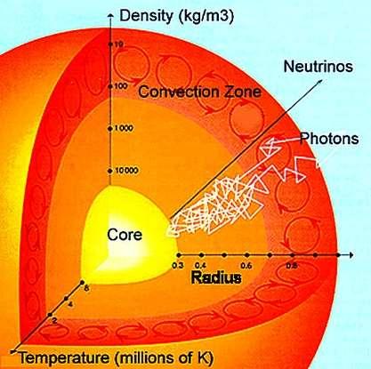 Plus on s'enfonce à l'intérieur du Soleil plus la température augmente. De 6.000 K à sa surface, elle atteint 2 x 106 K à la base de la zone convective. Alors que les neutrinos s'échappent en quelques secondes du Soleil, les photons émis dans le cœur peuvent mettre un million d'années à quitter le Soleil, à cause de multiples collisions avec les particules du plasma solaire, d'où leur mouvement en zig-zag blanc sur le schéma. Crédit : UCB Center for Science Education
