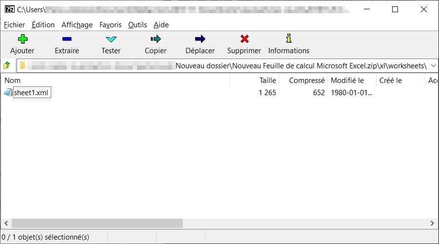 Le fichier «?sheets1.xml?» se trouve dans le dossier \xl\worksheets\ de l'archive ZIP. © Igor Pavlov