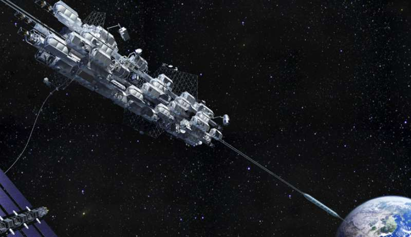 Une vue d'artiste du projet d'ascenseur spatial de l'entreprise Obayashi. © Obayashi Corporation