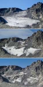 Trois prises de vue du glacier Pizol, datant de haut en bas, de 2006, 2017, 2019, sur la commune de Mels en Suisse. © Handout - EHT Zurich, Matthias Huss, AFP