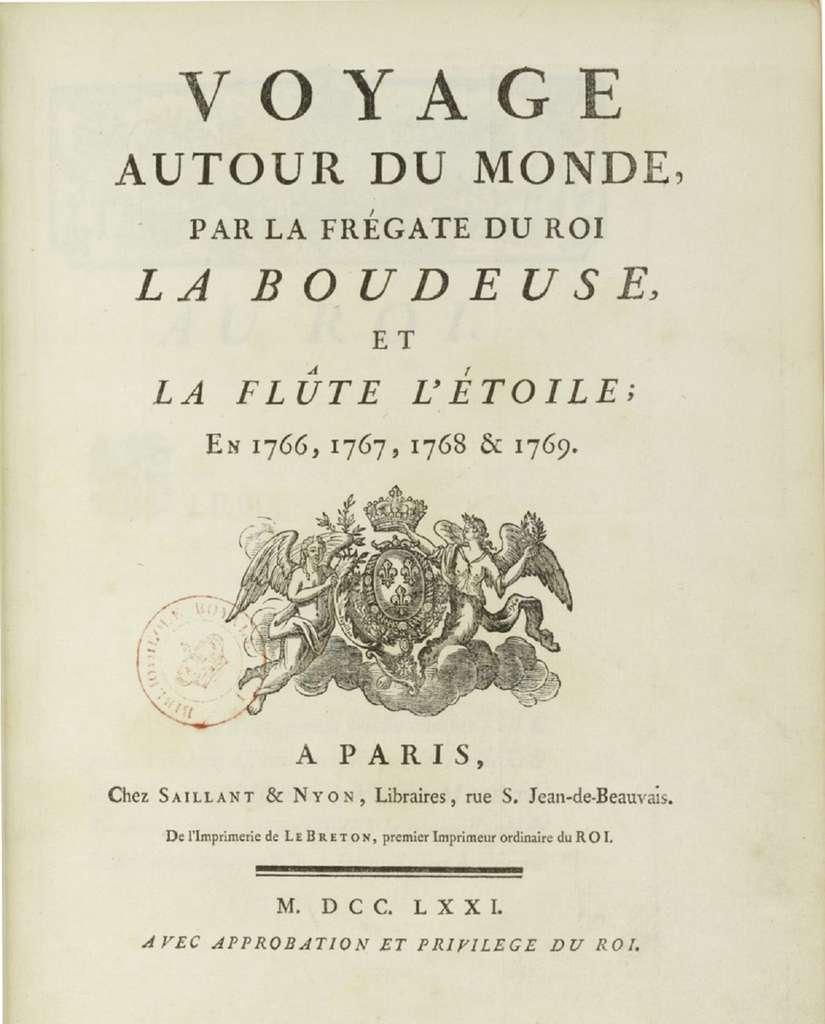 Page de présentation du récit du Voyage autour du monde de Bougainville, publié en 1771 (timbre de la Bibliothèque royale).