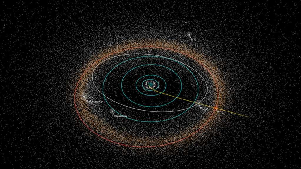 En 2019, 2014 MU69, la prochaine cible de New Horizons, sera l'objet le plus lointain du Système solaire jamais visité par une sonde construite par l'Homme. © Nasa, JHUAPL, SwRI / Alex Parker