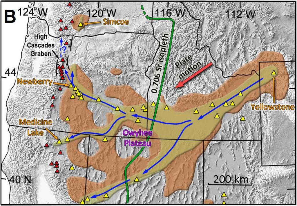 Représentation de l'écoulement du panache à travers les États du Wyoming (départ de Yellowstone), de l'Idaho, du Nevada, de l'Oregon (point d'arrivée à Newberry) et de Californie (point d'arrivée à Medicine Lake). La couleur beige correspond à la matière de faible densité constituant le panache qui se déplace en formant des « chenaux ». Cette matière finit par s'étaler (en marron). Les triangles jaunes situent des éruptions récentes (moins de 2 Ma). Les triangles rouges sont les volcans de la Chaîne des Cascades. ©️ Victor Camp, Geology, 2019