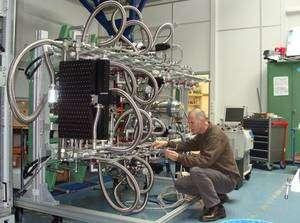 Le système de cryogénie de Muse en test à l'ESO. Crédit ESO