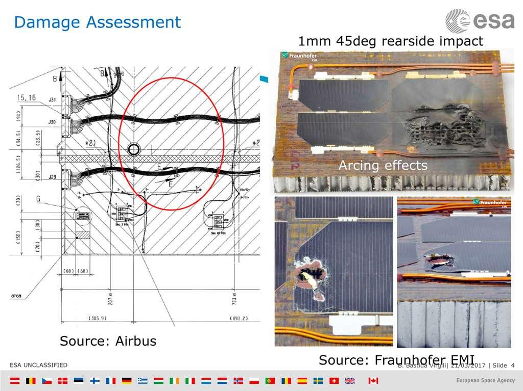 Reconstitution au sol de l'impact sur le panneau solaire de Sentinel 1A qui permet de se faire une idée assez précise des dommages. © ESA