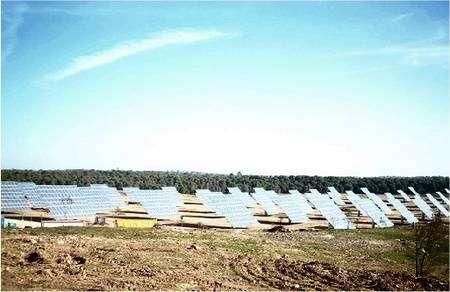 Chacun de ces capteurs comprend 104 panneaux photovoltaïques et s'étalent sur 250 hectares. © Ville d'Amareleja