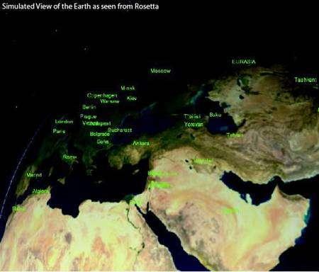Cette image est identique à la précédente mais les continents ayant été ajoutés artificiellement afin de situer les principaux repères géographiques.