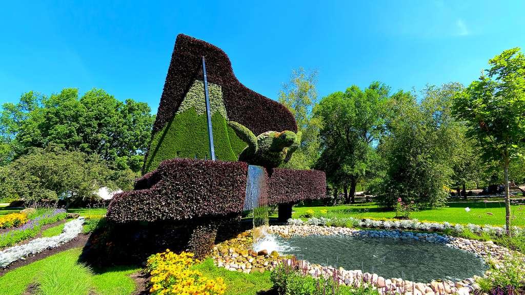 Sculpture végétale de tortue par la ville d'Hamamatsu, Japon