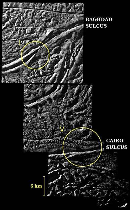 Les scientifiques utilisent ces images détaillées afin de déterminer quels types de failles sont associés à certaines activités géologiques particulières. Ces informations, couplées aux données transmises par les détecteurs de Cassini, peuvent aider les chercheurs à identifier d'éventuelles nappes d'eau souterraines sous la surface d'Encelade. Les cercles montrent des dépôts de glace engendrés par les jaillissements de geysers. Crédit : NASA/JPL/Space Science Institute.