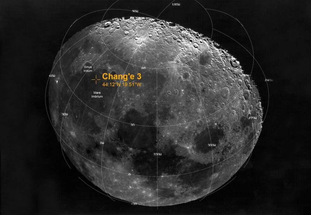 Le site d'atterrissage de l'appareil de la mission Chang'e 3 (décembre 2013). © CNSA