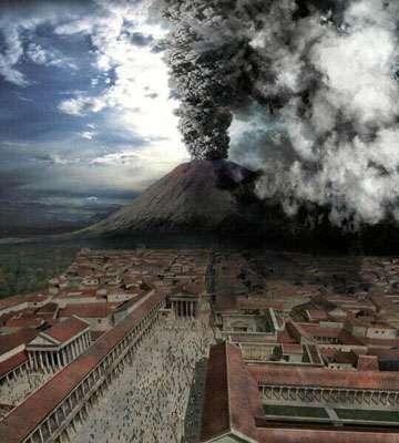 Reconstitution de l'éruption du Vésuve dans le docu-fiction Le dernier jour de Pompéi (2003). Cette catastrophe fit probablement plusieurs milliers de victimes. © Crew Creative, Wikipédia