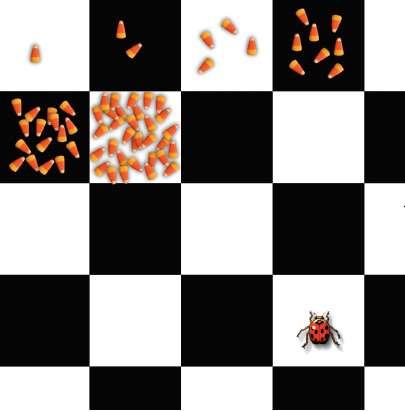 Le fameux problème de l'échiquier de Sissa illustre la nature des progressions géométriques. Dans la version réduite proposée ci-contre, combien de sucreries la coccinelle obtiendra-t-elle si la progression 1 + 2 + 4 + 8 + 16... se poursuit ? © Dunod, droits réservés