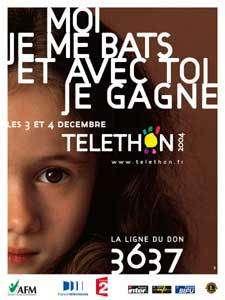 Les 3 et 4 décembre prochains le Téléthon 2004 vous donne rendez-vous, partout en France, pour combattre la maladie. Parce que nous avons toujours refusé de baisser les bras, aujourd'hui grâce à vous, les progrès sont là. Mais ils sont encore insuffisants. Durant ces deux jours, l'engagement de tous est nécessaire pour poursuivre le combat. Avec vous, nous gagnerons. © AFM Oko