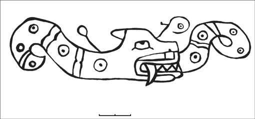 Figure 9 : serpent à tête féline gravé à Alto de la Guitarra. © A. Nuñez Jimenez, reproduction et utilisation interdites