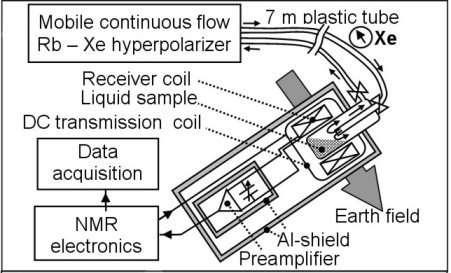 Fig. 1 - Schéma de la sonde RMN du spectromètre placée dans l'alignement du champ magnétique terrestre crédits : Helmholtz Association institution