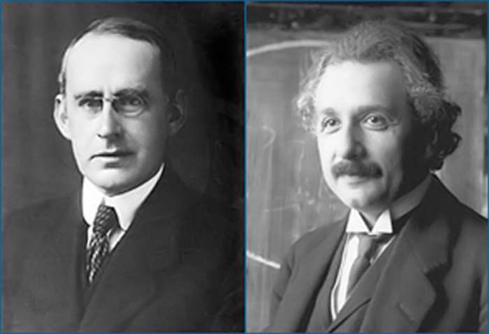 À gauche, Arthur Eddington et, à droite, Albert Einstein. © Library of Congress