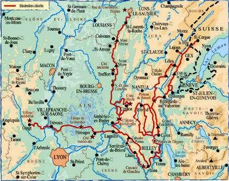 Carte de randonnée de http://www.ffrandonnee.fr/, tracés en rouge