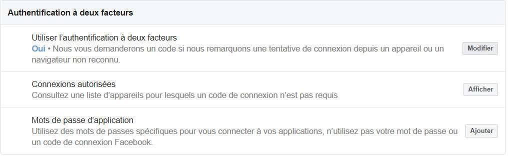 Cliquez sur Modifier pour activer l'authentification à deux facteurs. © Futura