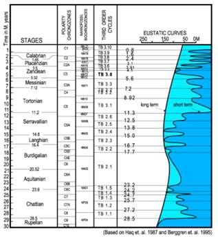 Cliquez sur le dessin pour l'agrandir Figure 20 : Grâce à une auscultation acoustique (méthode de la « sismique réflexion »), on peut reconstituer les biseaux successifs des dépôts sur le pourtour des continents (dépôts dont l'âge est connu par ailleurs en forages).