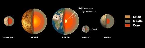 Les quatre planètes telluriques de notre Système solaire se présentent avec des noyaux riches en fer entourés de manteaux rocheux. La taille du noyau varie en fonction de la distance au soleil, Mercure a le plus gros et Mars le plus petit. © Nasa