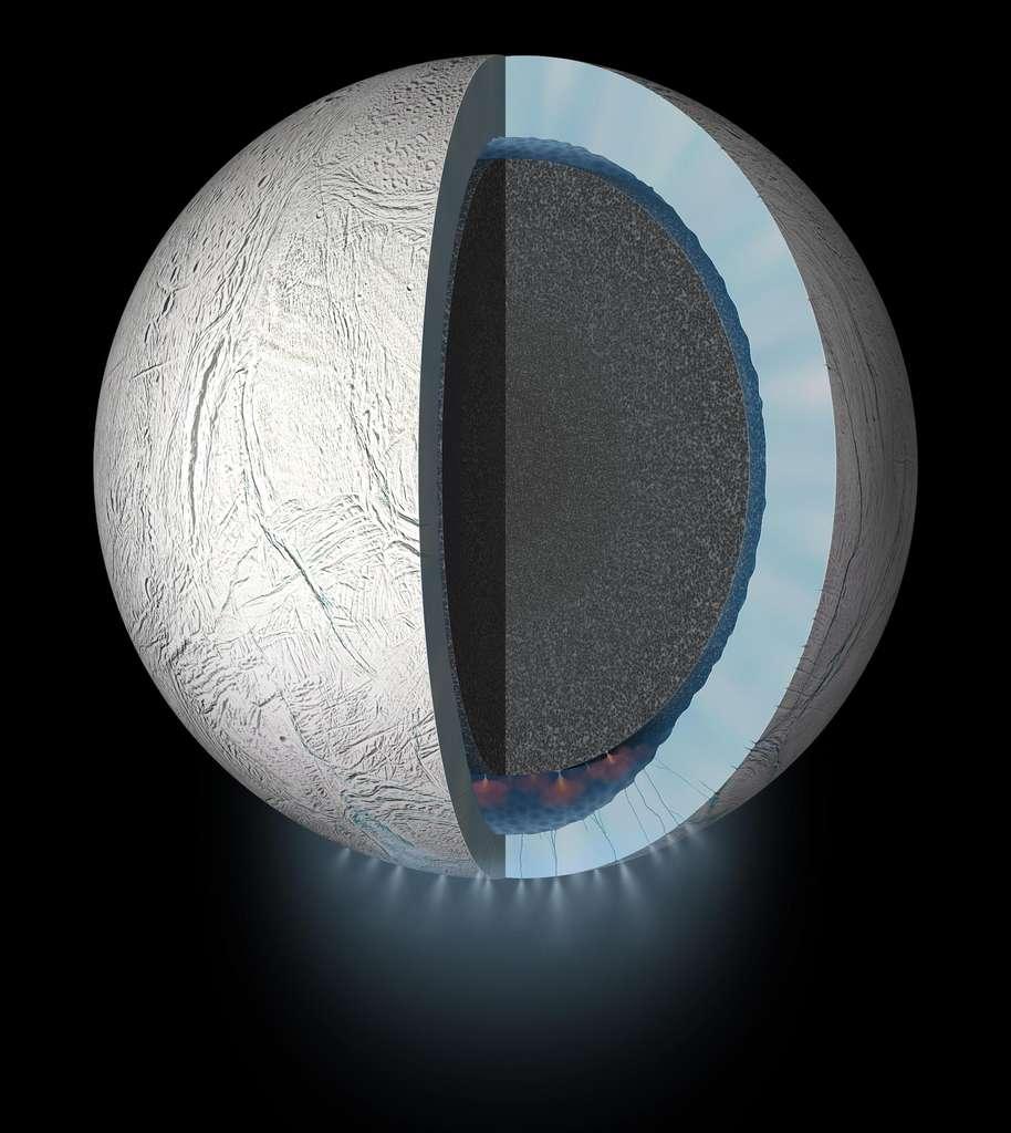 Les chercheurs du Southwest Research Institute (SwRI - États-Unis) se sont notamment appuyés sur les données fournies par la sonde Cassini et son spectromètre de masse lors de son passage à proximité directe d'Encelade, en octobre 2015. En détaillant la composition chimique des geysers qui s'échappent de la croûte glacée de la lune de Saturne, ils ont conclu que son océan est probablement plus complexe que prévu. © Nasa, JPL-Caltech