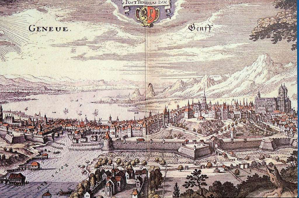 Vue de la ville de Genève au XVIIe siècle. British Museum, Londres. © Musée Virtuel du Protestantisme