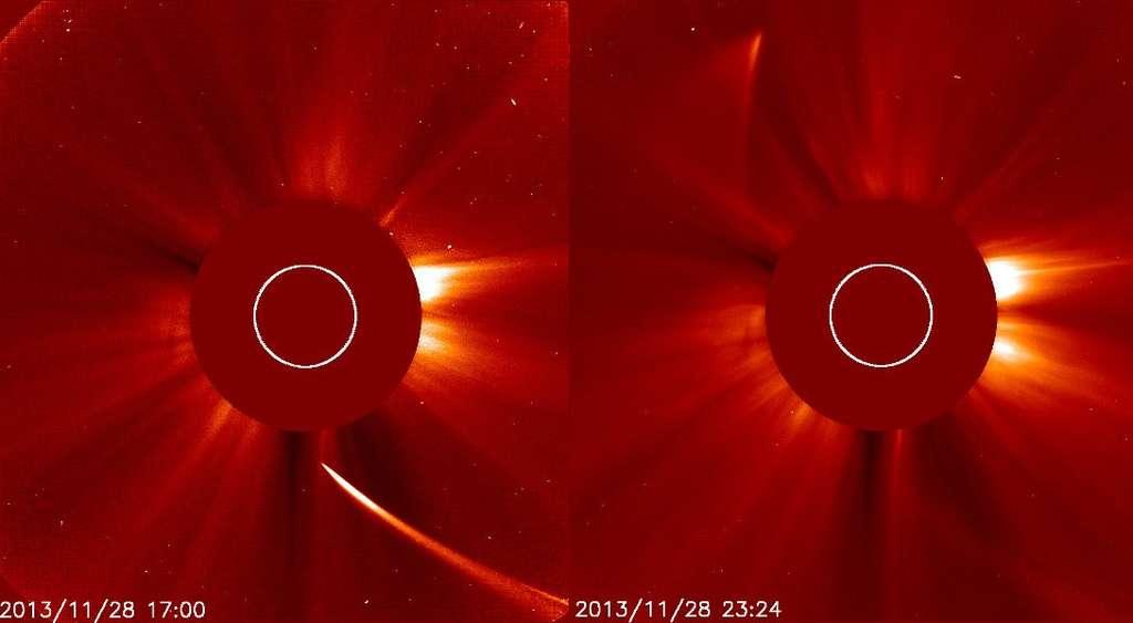 La comète Ison vue par Soho durant son approche du Soleil, à gauche le 28 novembre à 17 h 00 TU (18 h 00 en France) et, à droite, pendant sa disparition derrière le disque protecteur du coronographe Lasco (le Soleil se trouve à la position indiquée par le cercle blanc). © Nasa, Soho