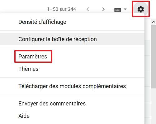 Rendez-vous dans les paramètres de Gmail. © Google Inc.