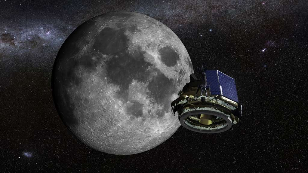 Le MX-1, vu en configuration de vol entre la Terre et la Lune, sera lancé par le lanceur Electron de la société néo-zélandaise Rocket Lab dont le premier vol commercial est prévu à la fin de cette année. Ce lanceur à deux étages peut emporter jusqu'à 150 kg sur une orbite de 500 kilomètres synchronisée avec le Soleil. © Moon Express