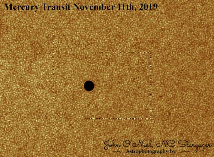 Mercure devant la surface détaillée du Soleil. © John O'Neal NC Stargazer Photography, Spaceweather
