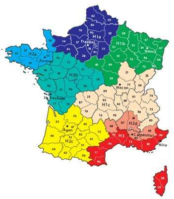 La réglementation thermique 2005 partage la France non plus en trois zones climatiques mais la subdivise en huit, de la plus froide à la plus chaude : H1a, H1b, H1c ; H2a, H2b, H2c, H2d ; H3. © Ademe