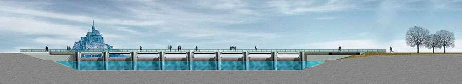 Image virtuelle du Mont-Saint-Michel vu du barrage