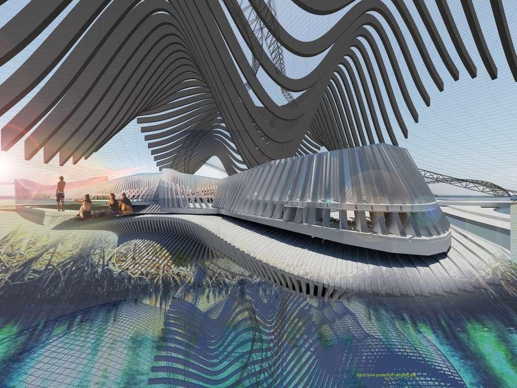 Les passerelles en bois formeront la structure centrale à partir de laquelle des bras flottants ramasseront les déchets plastiques qui formeront de nouveaux ponts. © Margot Krasojević Architecture