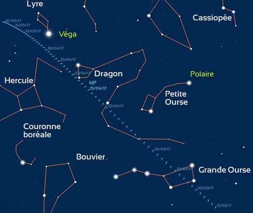 Carte de visibilité de la comète